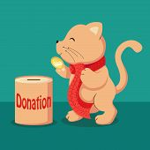Animal Putting Golden Coin Money With Into Donation Bank Or Moneybox poster