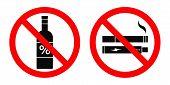 No Alcohol, No Smoking, No Vaping Sign. Vector. poster