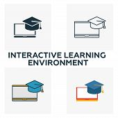 Interactive Learning Environment Icon Set. Four Elements In Diferent Styles From Content Icons Colle poster
