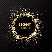 Glitter Circle. Festive Gold Sparkle Background. Glittering Circle Frame. Star Dust. Light Design Fo poster
