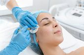 The Beautician Makes Professional Rejuvenation Vitamin Injections For The Skin Of The Patients Face poster