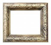 picture of woodcarving  - a wooden frame floral woodcarving golden paint - JPG