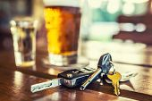 Car Keys And Glass Of Beer Or Distillate Alcohol On Table In Pub Or Restaurant. poster
