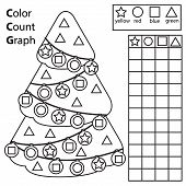 Color, Count And Graph. Educational Children Game. Color Christmas Spruce Tree And Counting Shapes.  poster