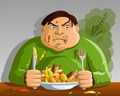 stock photo of fart  - Greedy Man Overeating  - JPG
