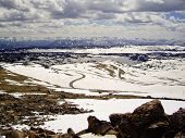 foto of beartooth  - Beartooth Highway snakes through the mountains of Montana in Winter - JPG