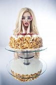 image of barbie  - Beautiful Blonde Woman With A Cake - JPG