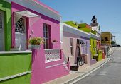 picture of malay  - Colourful cottages in a street in Bo Kaap formerly known as the Malay Quarter in Cape Town - JPG