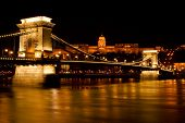 Budapest - Hungary Nighttime Of Buda Castle And Szechenyi Chain Bridge Over Danube In Budapest, Hung