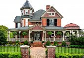 stock photo of manicured lawn  - A well maintained old Victorian House - JPG