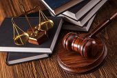 stock photo of courtroom  - Mallet legal code and scales of justice - JPG