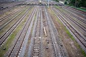 stock photo of railroad yard  - top view to a lot of parallel railway lines at marshalling yard - JPG