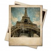 foto of polaroid  - Vintage polaroid Eiffel tower instant photo - JPG