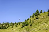 stock photo of ropeway  - Ropeway on a blue sky in Aosta Valley  - JPG
