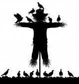stock photo of scarecrow  - Illustrated silhouette of a flock of pigeons on a scarecrow - JPG