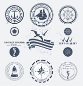foto of ampersand  - Set of vintage retro nautical badges and labels - JPG