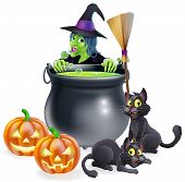 stock photo of cauldron  - A witch Halloween scene with green witch peeking over a cauldron with broomstick pumpkins and cats - JPG