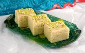 foto of barfi  - Fresh Delicious and Famous Indian and Pakistani Sweet kalakand cubes - JPG
