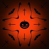 picture of drakula  - Halloween orange and black illustration for background - JPG