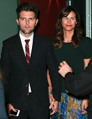 NEW YORK-OCT 3: Actor Adam Scott (L) and wife Naomi attend the premiere of 'A.C.O.D.' at the Landmar