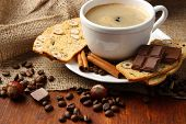 stock photo of biscuits  - Cup of tasty coffee with tasty Italian biscuits - JPG