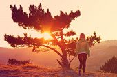 stock photo of psychodelic  - Lonely Tree on Mountain and Woman walking alone to Sunset behind view in orange and pink colors Melancholy solitude emotions concept - JPG