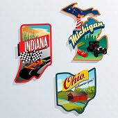 foto of state shapes  - Retro state shape illustrations of Indiana - JPG