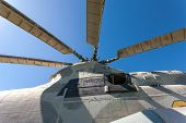 image of rotor plane  - Propeller of Russian helicopter against blue sky - JPG