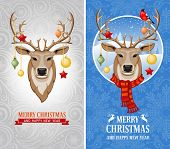 stock photo of deer  - Christmas greeting cards with deer - JPG