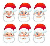 Santa Claus, multiple expressions. Funny cartoon and vector isolated character