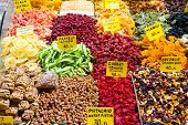stock photo of pamelo  - Dried Fruits in Spice Bazaar, Istanbul City