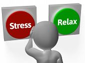 image of stress relief  - Stress Relax Buttons Showing Stressed Or Relaxed - JPG