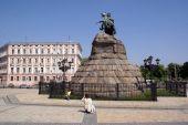picture of bohdan  - Bogdan Hmelnitsky monument on the square in Kiev - JPG