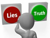 stock photo of tell lies  - Lies Truth Buttons Showing Untrue Or Correct - JPG