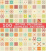 stock photo of geometric  - Retro different vector seamless patterns  - JPG
