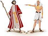 foto of pharaoh  - Vector illustration of Pharaoh sending Moses away - JPG