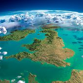 stock photo of ireland  - Highly detailed fragments of the planet Earth with exaggerated relief translucent ocean and clouds illuminated by the morning sun - JPG