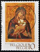 BELGIUM - CIRCA 1991: a stamp printed in Belgium shows Icon of Madonna and Child Chevetogne Abbey