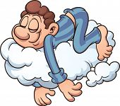 picture of single man  - Man sleeping on a cloud - JPG