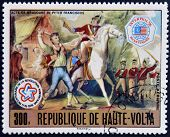 BURKINA FASO - CIRCA 1976: stamp printed in Burkina Faso shows Peter Francisco bravery circa 1976