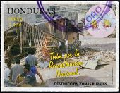 HONDURAS - CIRCA 1998: A stamp printed in Honduras dedicated to rural reconstruction of destroyed