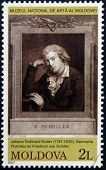 MOLDOVA - CIRCA 2007: Stamp printed in Moldova dedicated shows Friedrich von Schiller