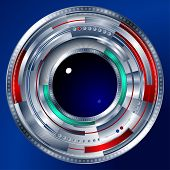 stock photo of cybernetics  - An abstract cybernetic steel eye in the form of a lens objective - JPG