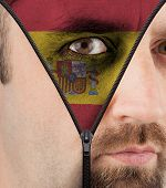 Unzipping Face To Flag Of Spain