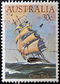 AUSTRALIA - CIRCA 1984: stamp printed in Australia shows ship Cutty Sark circa 1984