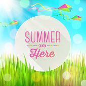 Summer  greeting round banner against a landscape with fresh grass and colorful kites - vector illus