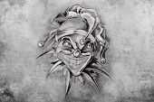 picture of jester  - tattoo illustration - JPG
