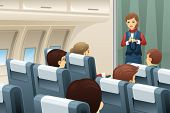 pic of flight attendant  - A vector illustration of flight attendant demonstrate how to fasten the seat belt to passengers - JPG