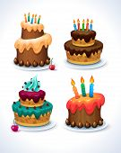 stock photo of icing  - Happy Birthday cake set - JPG