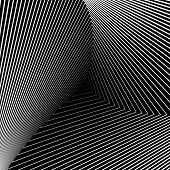 Design Monochrome Triangle Movement Illusion Background. Abstract Striped Distortion Geometric Backd